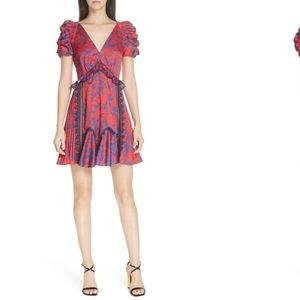 Floral Print Lace & Ruffle Trim Satin Minidress